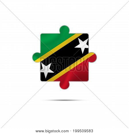 Isolated piece of puzzle with the Saint Kitts and Nevis flag. Vector illustration.