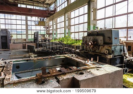 Abandoned and destroyed by war overgrown factory, abandoned industrial concept