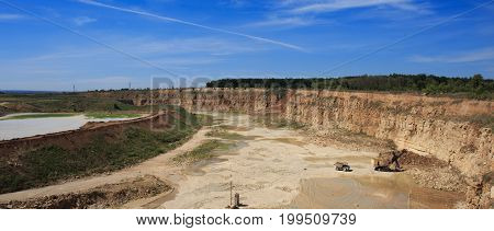 Panorama of quarry with equipment for the extraction of sand, clay and stone