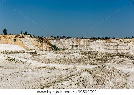 Limestone quarry, Open pit mine in Russia
