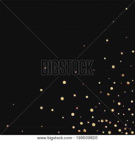 Sparse Gold Confetti. Scattered Bottom Right Corner On Black Background. Vector Illustration.