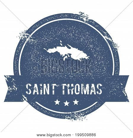 Saint Thomas Logo Sign. Travel Rubber Stamp With The Name And Map Of Island, Vector Illustration. Ca