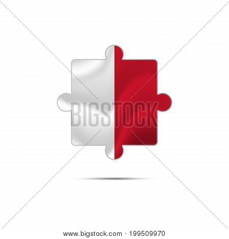 Isolated piece of puzzle with the Malta flag. Vector illustration.