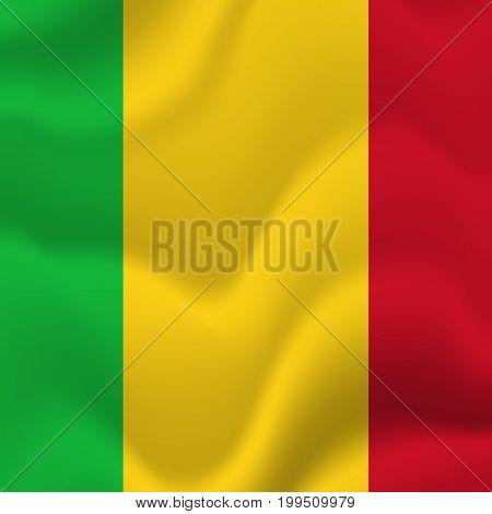 Mali waving flag. Waving flag. Vector illustration.