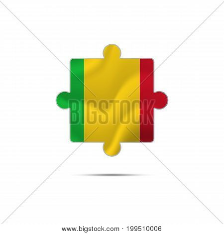 Isolated piece of puzzle with the Mali flag. Vector illustration.