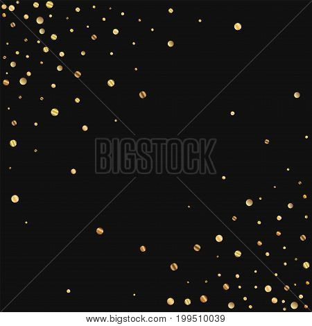 Sparse Gold Confetti. Abstract Chaotic Scatter On Black Background. Vector Illustration.