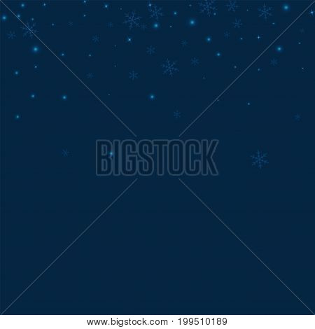 Sparse Glowing Snow. Scatter Top Gradient On Deep Blue Background. Vector Illustration.