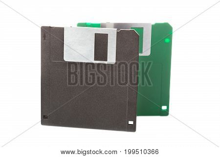 Computer floppy disks isolated on white background