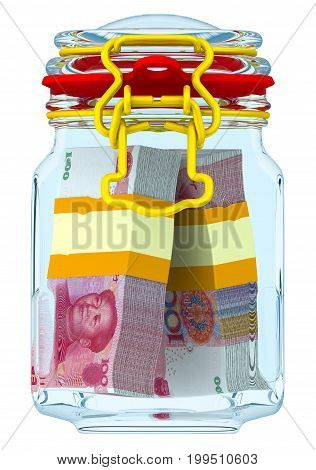 Closed glass Jar for canning with bundles of Chinese banknotes (yuan) on a white surface. Financial concept. Isolated. 3D Illustration