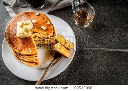 Pumpkin Pancakes With Maple Syrup