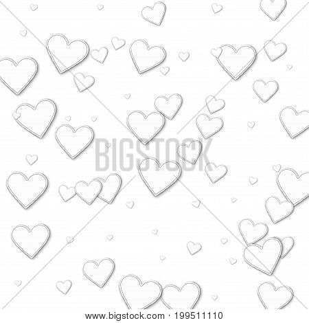 Cutout Paper Hearts. Chaotic Scatter Lines On White Background. Vector Illustration.