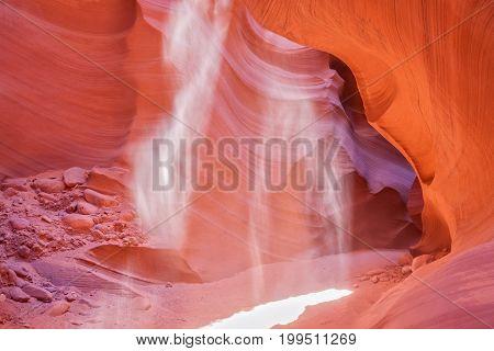scenic antelope canyon with light beams near Page Arizona