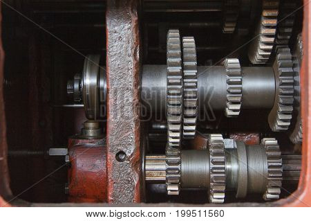 Old gears, part of the mechanism of machinery