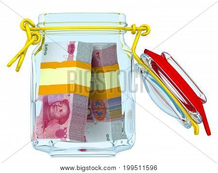 Opened glass Jar for canning with bundles of Chinese banknotes (yuan) on a white surface. Financial concept. Isolated. 3D Illustration