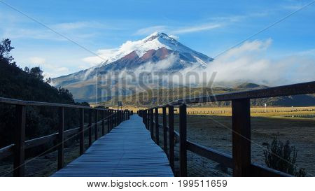 Wooden path near the Limpiopungo lagoon with the Cotopaxi volcano in the background on a cloudy morning - Ecuador