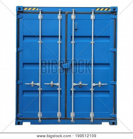 Blue cargo container for shipping and transportation work isolated on white background.