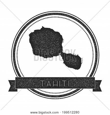 Tahiti Map Stamp. Retro Distressed Insignia. Hipster Round Badge With Text Banner. Island Vector Ill