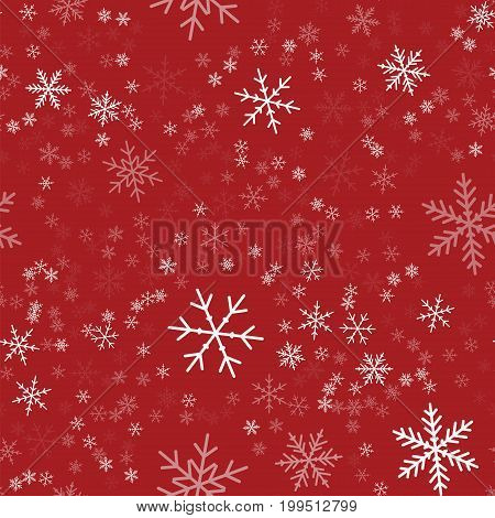 White Snowflakes Seamless Pattern On Red Christmas Background. Chaotic Scattered White Snowflakes. A