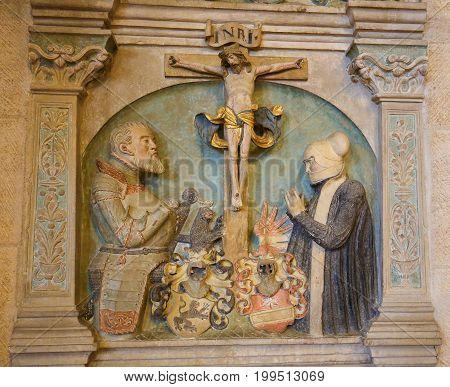 Statue In The Stiftskirche In Tubingen, Germany