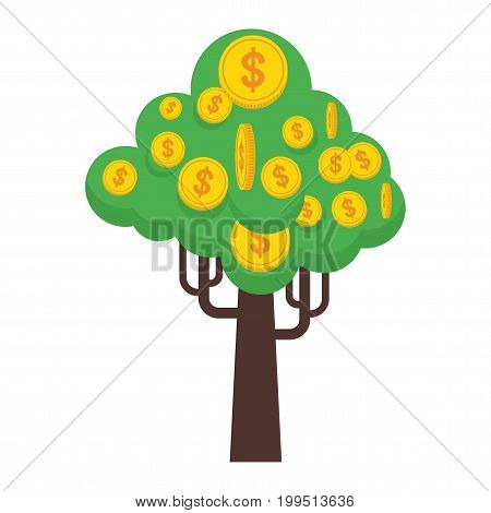 Money tree with gold coins and paper dollars. Symbol of success wealth and power. Finance and banks savings and investments. Flat vector cartoon illustration. Objects isolated on a white background.
