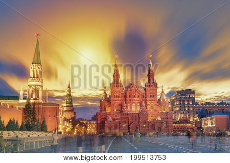 Sunset view of the Red Square Moscow Kremlin Lenin mausoleum historican Museum in Russia. World famous Moscow landmarks for tourism and travel