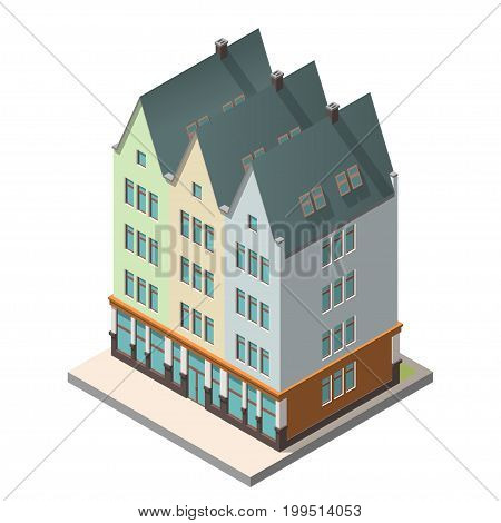 Vector isometric icon. The old residential building in European style with an attic floor