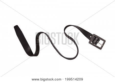 black leather belt isolated on the white