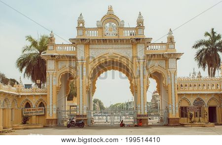 MYSORE, INDIA - FEB 20, 2017: Gates of the Mysore Palace built for entrance of royal indian family in 1912 on February 20, 2017. With population 900000 Mysore is the cultural capital of Karnataka