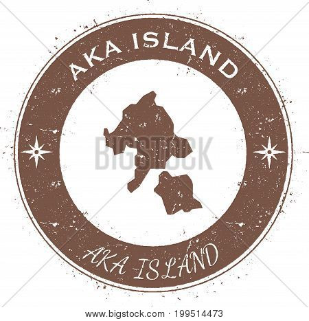Aka Island Circular Patriotic Badge. Grunge Rubber Stamp With Island Flag, Map And Name Written Alon