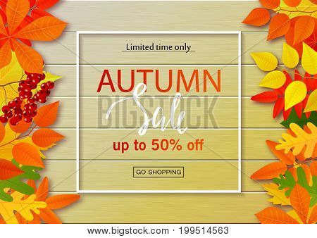 Autumn sale poster with fall leaves on wooden backgrounds. Vector illustration for website and mobile website banners posters email and newsletter designs ads coupons promotional material.