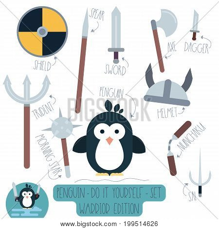 Vector Do it yourself set with penguin and weapons. Make your own cartoon flat illustration of funny warrior.