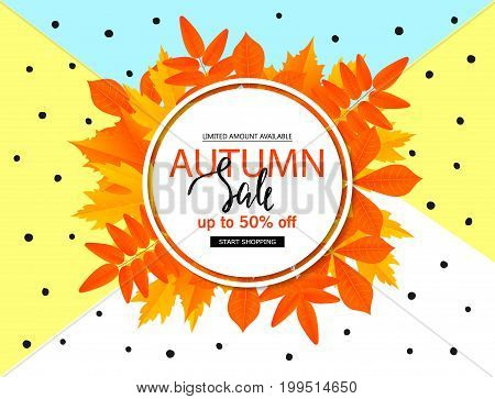 Autumn sale poster with fall leaves . Vector illustration for website and mobile website banners posters email and newsletter designs ads coupons promotional material