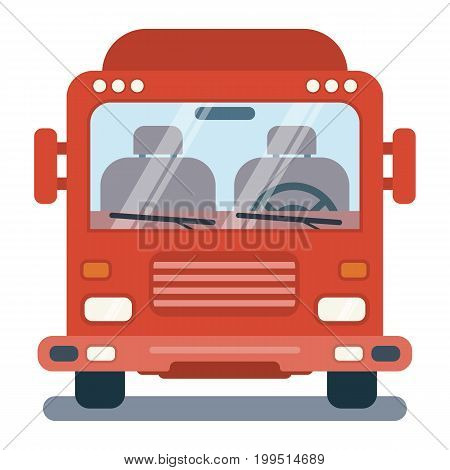 Vector modern flat cartoon illustration of front side of stylized truck.