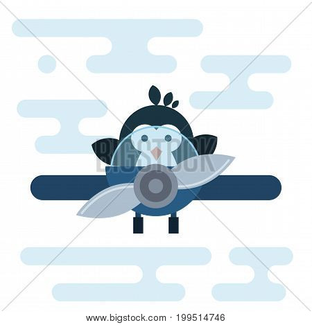Vector penguin character stylized as a pilot in the airplane. Modern flat illustration.