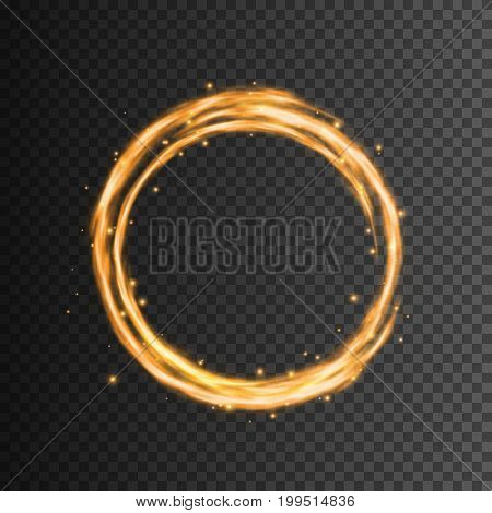 Transparent glow light effect, Swirl trail, Glowing fire ring trace, Vector illustration
