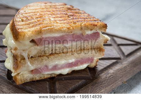 grilled ham and cheese take away sandwiches, golden brown