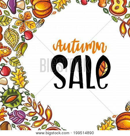 Vector Autumn Harvest Festival greeting card background. Hand drawn banner: ripe pumpkin oak leaf chestnut maple leaves vegetables acorn and mushroom. Farmers market fall sale social media