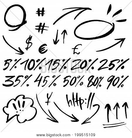 Hand drawn signs and numbers for social networks. Sale in the store and phone number. Arrows and dots.