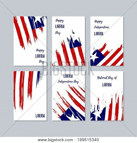 Liberia Patriotic Cards For National Day. Expressive Brush Stroke In National Flag Colors On White C