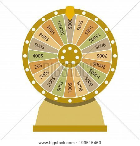 Spinning wheel of fortune. Money win casino game. Flat style. Vector illustration