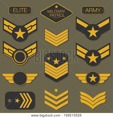 Military Army Badge Set Typography. T Shirt Graphics