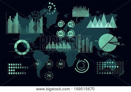 World analytics infographic. Set of transparent graphs and charts dashboard template. Global statistic information. Vector