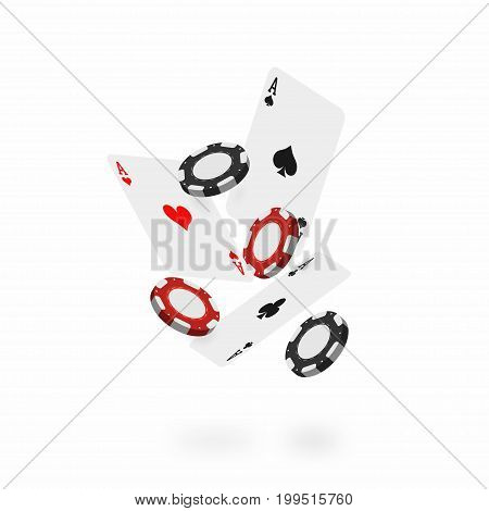 Falling cards and chips. Falling poker aces with realistic casino chips isolated on white background. Vector
