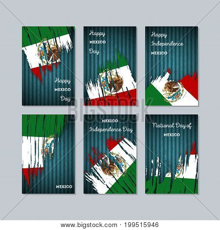 Mexico Patriotic Cards For National Day. Expressive Brush Stroke In National Flag Colors On Dark Str