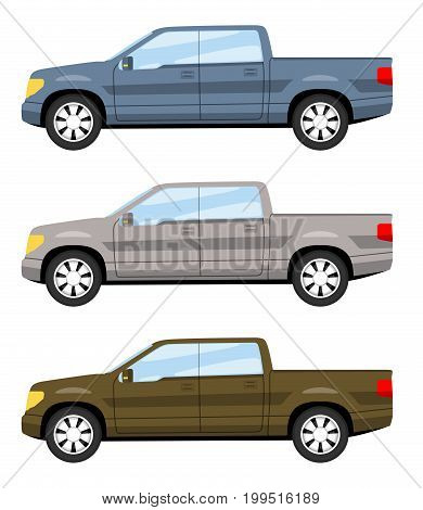 Set of cars side view different colors. Full size truck car icon detailed. Vector illustration.