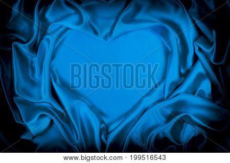 Blue Silk Folded Heart Shape, Useful For Backgrounds