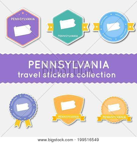 Pennsylvania Travel Stickers Collection. Big Set Of Stickers With Us State Map And Name. Flat Materi
