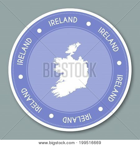 Ireland Label Flat Sticker Design. Patriotic Country Map Round Lable. Country Sticker Vector Illustr
