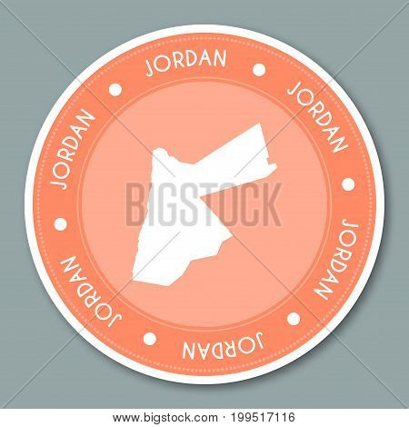Jordan Label Flat Sticker Design. Patriotic Country Map Round Lable. Country Sticker Vector Illustra