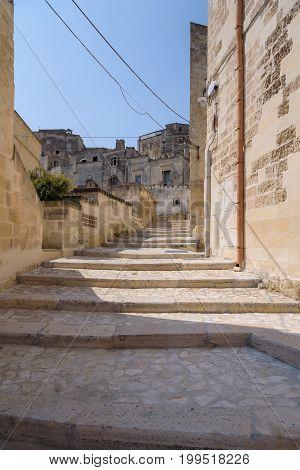 Narrow street in the Sassi of Matera Basilicata Italy